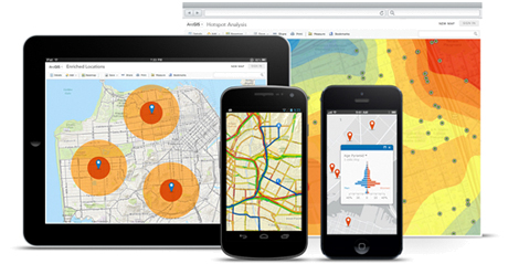 Mobile devices showing GIS telecommunication solutions for field work and data analysis.